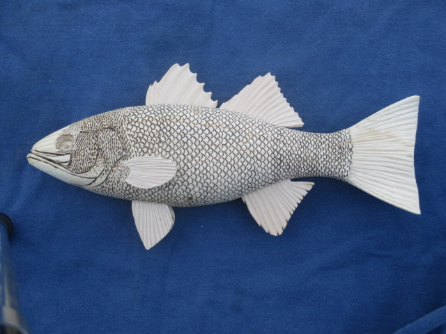 """Finished carving of 7"""" Striper, ready for paint."""
