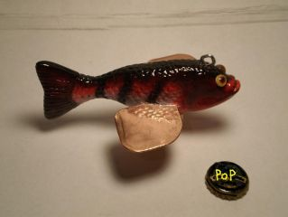 "7"" red and white tiger stripe decoy"