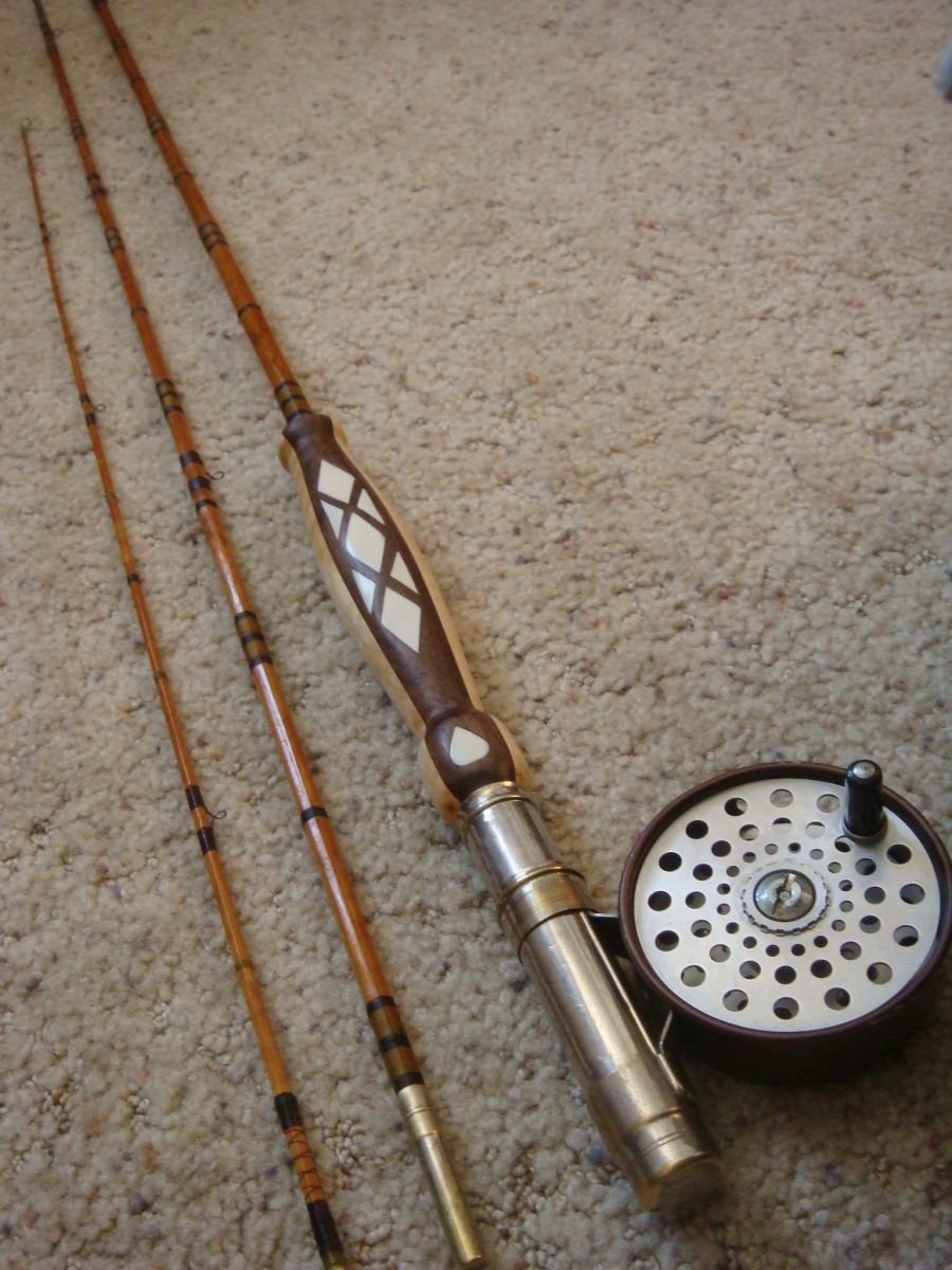 refurbished antique bamboo fly rod.