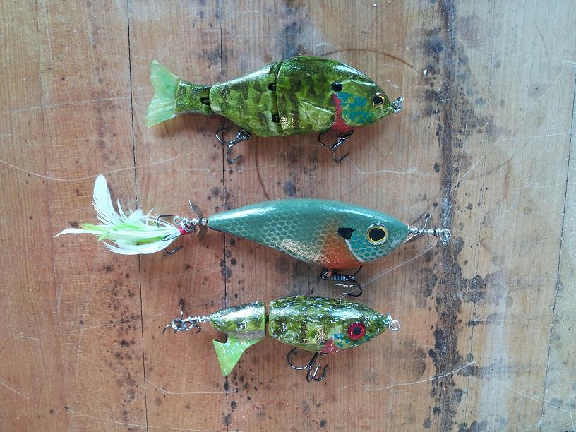 three bluegill baits