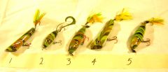 A set of marbled lures.
