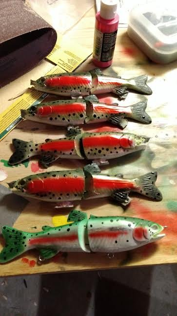 hold-over trout glidebaits and my little brothers first hand painted bait