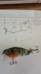 bluegill jointed prop wake bait 2